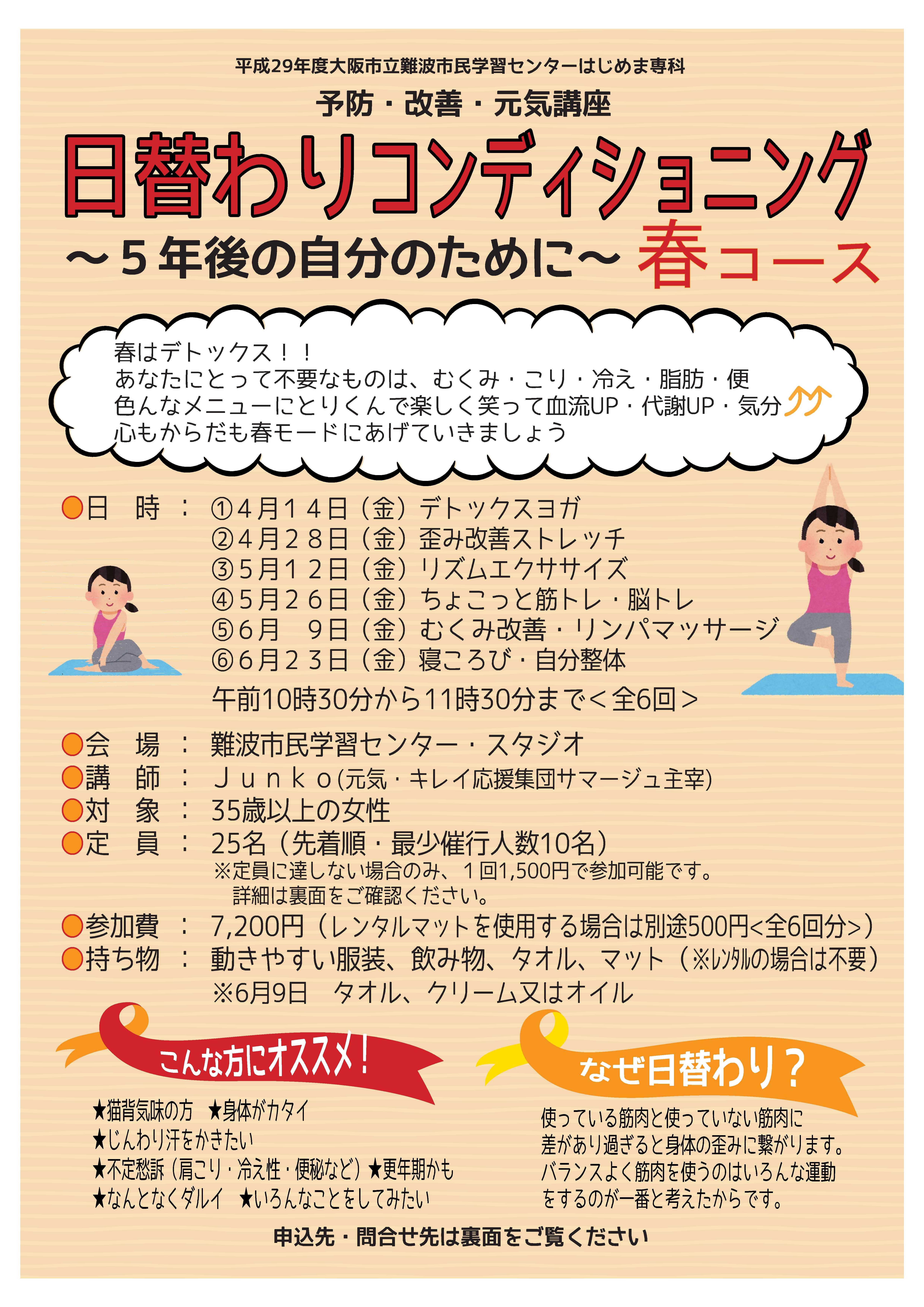 日替わりコンディショニング(表)